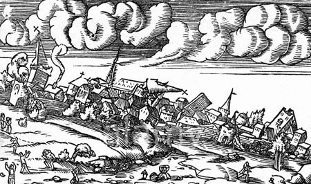 earthquake from Cosmographia universalis 1554